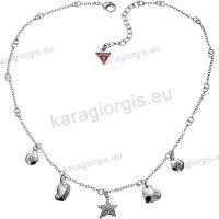 Κόσμημα GUESS Collection Jewellery σε κολιέ λευκό με κρεμαστά μενταγιόν σε τύπου charms με άσπρες πέτρες