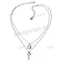 Κόσμημα GUESS Collection Jewellery σε διπλό κολιέ λευκό με κλειδί και λουκέτο μενταγιόν