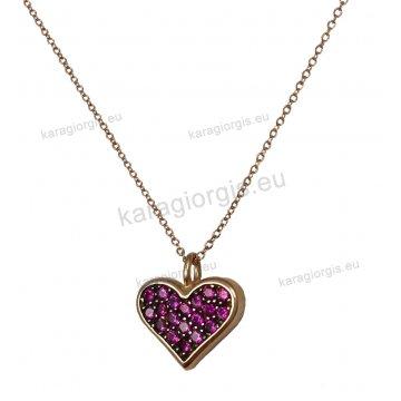 Μοντέρνο νεανικό κολιέ ροζ χρυσό με κρεμαστή καρδιά με κόκκινες πέτρες ζιργκόν και μαύρο πλατίνωμα