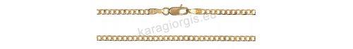 Καδένα λαιμού χρυσή σε Κ9 με τετράγωνους κρίκους σε κλασικό κουρμέτ σχέδιο πάχος 2,50mm και μήκος 50cm