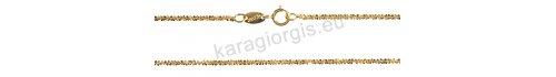 Καδένα λαιμού χρυσή σε Κ14 στριφτή σε σχέδιο κορδόνι με διαμαντάρισμα στις γωνίες σε πάχος 1,40mm και μήκος 40cm