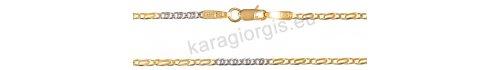 Καδένα λαιμού δίχρωμη λευκόχρυση με χρυσή σε Κ14 με οβάλ κρίκους σε σχέδιο μάτι πέρδικας πάχος 1,80mm και μήκος 45cm