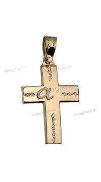 Βαπτιστικός σταυρός χρυσός για κορίτσι με πέτρες ζιργκόν και αρχικό μονόγραμμα