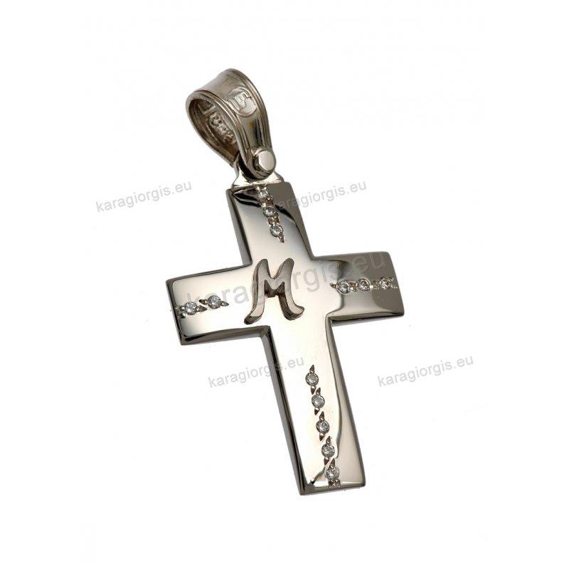 Βαπτιστικός σταυρός λευκόχρυσο για κορίτσι με πέτρες ζιργκόν και αρχικό  μονόγραμμα 2d5abb74e94