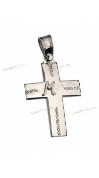 Βαπτιστικός σταυρός λευκόχρυσο για κορίτσι με πέτρες ζιργκόν και αρχικό μονόγραμμα