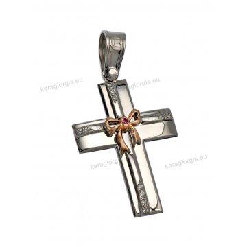 Βαπτιστικός σταυρός λευκόχρυσο για κορίτσι με πέτρες ζιργκόν και χρυσό φιογκάκι