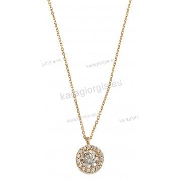 Κολιέ χρυσό με κρεμαστό μονόπετρο σε ροζέτα με πέτρες ζιργκόν