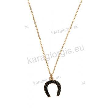 Κολιέ χρυσό με κρεμαστό πεταλάκι με μαύρες πέτρες ζιργκόν από την  collection LM 16e706f2408