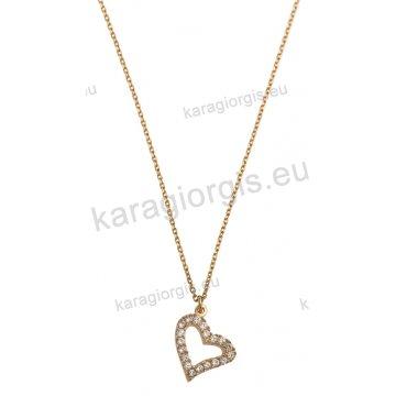 Κολιέ χρυσό με κρεμαστή καρδούλα με άσπρες πέτρες ζιργκόν από την  collection LM 1a5c5adc970