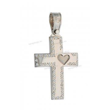 Βαπτιστικός σταυρός λευκόχρυσος για κορίτσι με πέτρες ζίρκον και καρδιά στην άκρη