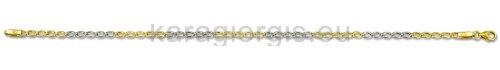 Καδένα χεριού δίχρωμη χρυσό με λευκόχρυσο 3,00mm