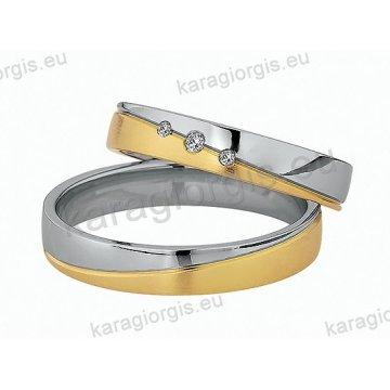 Βέρες δίχρωμες λευκόχρυσο με χρυσό με πέτρες Brilliand στη γυναικεία 4,00mm