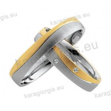 Βέρες δίχρωμες λευκόχρυσο με χρυσό με πέτρα Brilliand στη γυναικεία 4,00mm