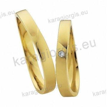 Βέρες χρυσές με πέτρα Brilliand στη γυναικεία 4,00mm