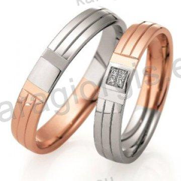 Βέρες δίχρωμες λευκόχρυσο με ροζ χρυσό με πέτρες Brilliand στη γυναικεία 4,00mm