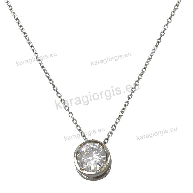 ASM3 Ασημένιο κολιέ με ενσωματωμένο μονόπετρο με άσπρη πέτρα ζιργκόν ... d2a1c231519