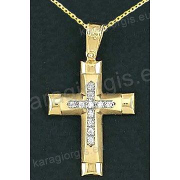 Βαπτιστικός σταυρός με αλυσίδα K14 σε χρυσό για κορίτσι σε λουστρέ και ματ φινίρισμα με δεύτερό λευκόχρυσο σταυρό στο κέντρο με πέτρες ζιργκόν
