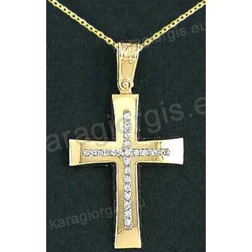 Βαπτιστικός σταυρός με αλυσίδα K14 σε χρυσό για κορίτσι σε λουστρέ φινίρισμα με δεύτερό λευκόχρυσο σταυρό στο κέντρο με πέτρες ζιργκόν