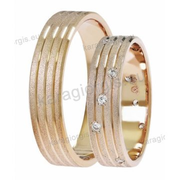 Βέρες σε ροζ χρυσό της σειράς Satellite by Stergiadis 5,00mm με 3 διαμαντέ γραμμές ματ φινίρισμα και 12 πέτρες ζιργκόν