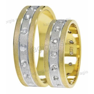 Βέρες δίχρωμες χρυσό με λευκόχρυσο της σειράς Satellite by Stergiadis 6,00mm με 2 διαμαντέ γραμμές στη μέση ματ φινίρισμα και 16 πέτρες ζιργκόν