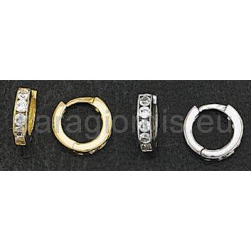 Σκουλαρίκια σε σχήμα κρίκου σε χρυσό και λευκόχρυσο με πέτρες ζιργκόν