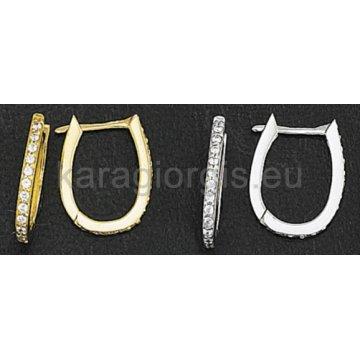 Σκουλαρίκια ημικρεμαστά σε χρυσό και λευκόχρυσο με πέτρες ζιργκόν