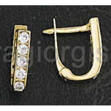 Σκουλαρίκια ημικρεμαστά σε χρυσό με πέτρες ζιργκόν