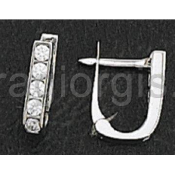 Σκουλαρίκια ημικρεμαστά σε λευκόχρυσο με πέτρες ζιργκόν