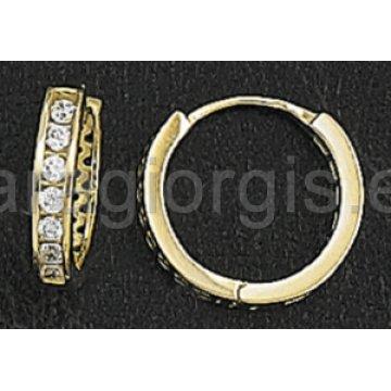 Σκουλαρίκια σε σχήμα κρίκου σε χρυσό με πέτρες ζιργκόν