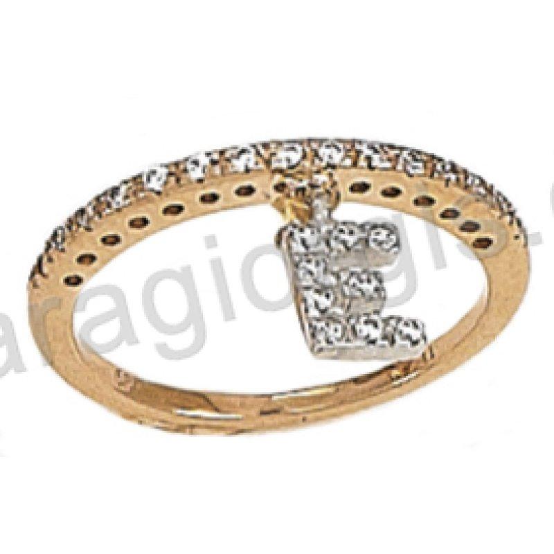 Δαχτυλίδι σειρέ σε ροζ χρυσό με λευκές πέτρες ζιργκόν και κρεμαστό  μονόγραμμα 8f831631719