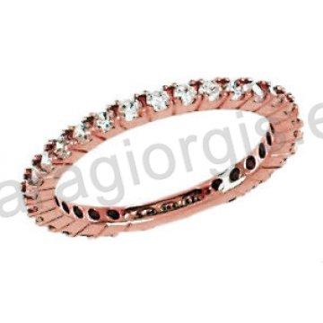 Δαχτυλίδι ολόβερο ροζ χρυσό με λευκές πέτρες ζιργκόν