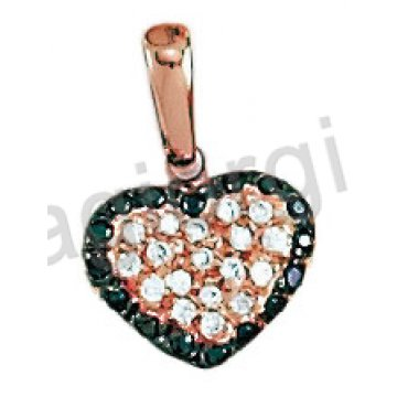 Μενταγιόν ροζ χρυσό σε σχήμα καρδιάς με λευκές και μαύρες πέτρες ζιργκόν