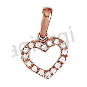 Μενταγιόν ροζ χρυσό σε σχήμα καρδιάς με λευκές πέτρες ζιργκόν