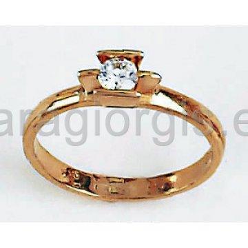 Μονόπετρο ροζ χρυσό με μία κεντρική πέτρα ζιργκόν