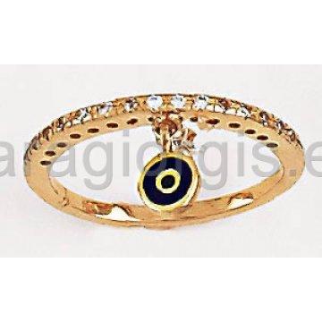 Δαχτυλίδι σειρέ χρυσό με πέτρες ζιργκόν και κρεμαστό ματάκι