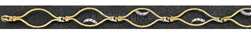 Βραχιόλι σπαστό χρυσό με λευκόχρυσο και πέτρες ζιργκόν