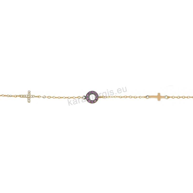 Βραχιόλι χρυσό με σταυρουδάκια στρογγυλό μοτίφ σε μαύρο χρυσό και πέτρες  ζιργκόν 8f914ac28aa