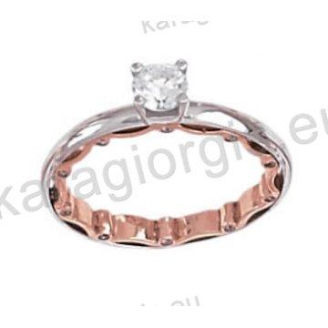 Μονόπετρο δαχτυλίδι σε ροζ χρυσό με πέτρα ζιργκόν