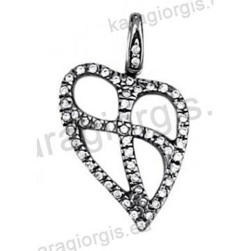 Μενταγιόν σε σχήμα καρδιάς από μαύρο χρυσό και λευκές πέτρες ζιργκόν