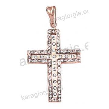 Σταυρός από ροζ χρυσό για κορίτσι με λευκές πέτρες ζιργκόν