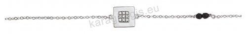 Βραχιόλι λευκόχρυσο με τετράγωνο μοτιφάκι με άσπρες πέτρες ζιργκόν και μαύρους στρογγυλούς σπινέλιους