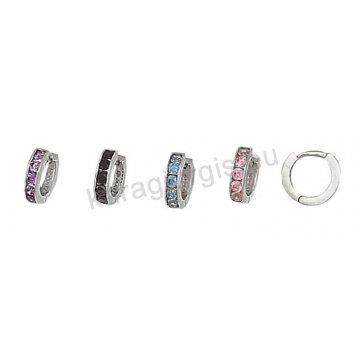 Σκουλαρίκια χρυσά σε κρικάκι με μωβ μαύρες τιρκουάζ ή ροζ πέτρες ζιργκόν