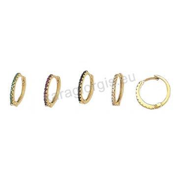 Σκουλαρίκια χρυσά σε κρικάκι με πράσινες κόκκινες μαύρες ή άσπρες πέτρες ζιργκόν