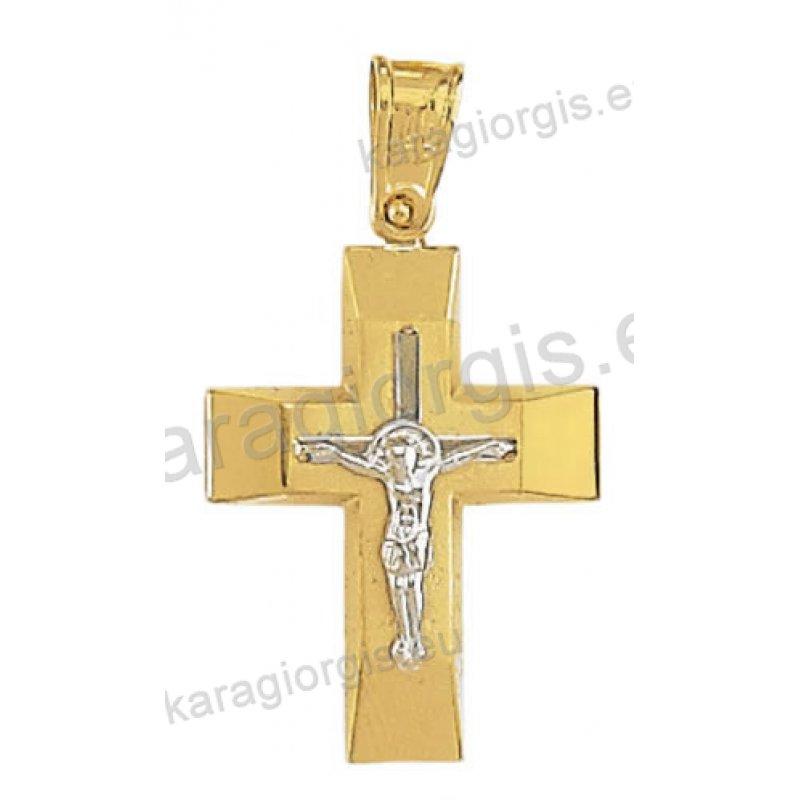 Σταυρός βάπτισης για αγόρι χρυσός με λευκόχρυσο και λευκόχρυσο εσταυρωμένο 5c213324623