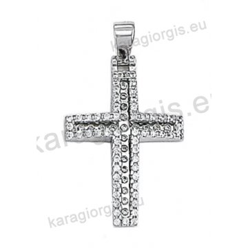 Βαπτιστικός σταυρός λευκόχρυσος για κορίτσι με πέτρες ζιργκόν