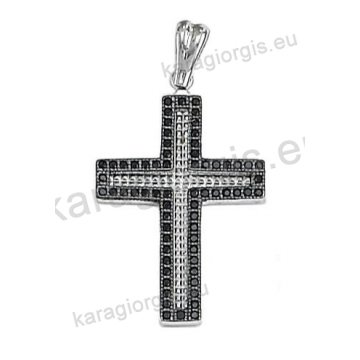 Βαπτιστικός σταυρός λευκόχρυσος για κορίτσι με πέτρες ζιργκόν διαμαντέ σκάλισμα και μαύρο πλατίνωμα