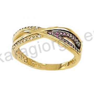 Σειρέ μισόβερο δαχτυλίδι χρυσό με λευκό και μαύρο χρυσό με κόκκινες και άσπρες πέτρες ζιργκόν
