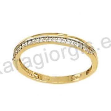 Σειρέ μισόβερο δαχτυλίδι χρυσό με λευκόχρυσο και άσπρες πέτρες ζιργκόν