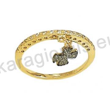 Σειρέ μισόβερο δαχτυλίδι χρυσό με κρεμαστό σταυρουδάκι σε μαύρο χρυσό με μαύρες και άσπρες πέτρες ζιργκόν