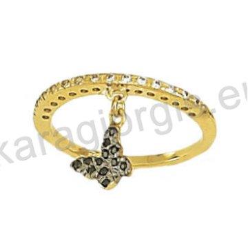 Σειρέ μισόβερο δαχτυλίδι χρυσό με κρεμαστή πεταλούδα σε μαύρο χρυσό με μαύρες και άσπρες πέτρες ζιργκόν